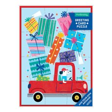 Dog Truck with Presents Puzzle Card