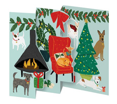 Fireside Dogs Tri-Fold Boxed Cards