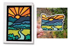 Oregon Mountains Card and Vinyl Sticker