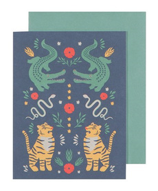 Crocodile and Tiger Animals Card