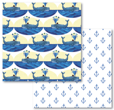 Whales and Anchors Reversible Eco-Wrap