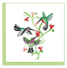 Hummingbird Trio Quilled Card