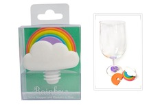 Rainbow Wine Stopper & Glass Marker Set