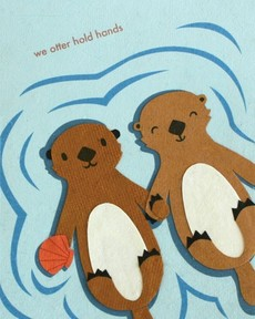 Otter Hold Hands Collage Card