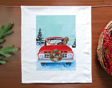Red Truck Dogs Holiday Towel