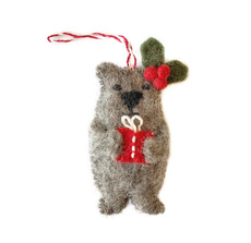 Bear with Gift Felted Ornament